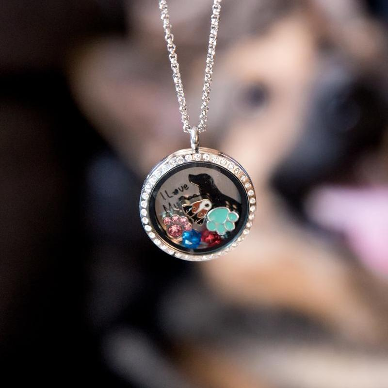 I Love My Dog Quote Plate Charm Necklace Plate Tell Me A Charm Floating Charm Lockets