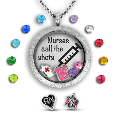 Nurse Present - Nurses call the shots Charm Necklace Locket Set Tell Me A Charm Floating Charm Lockets