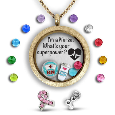 Nurse Gift - What's your Superpower Charm Necklace Locket Set Tell Me A Charm Floating Charm Lockets