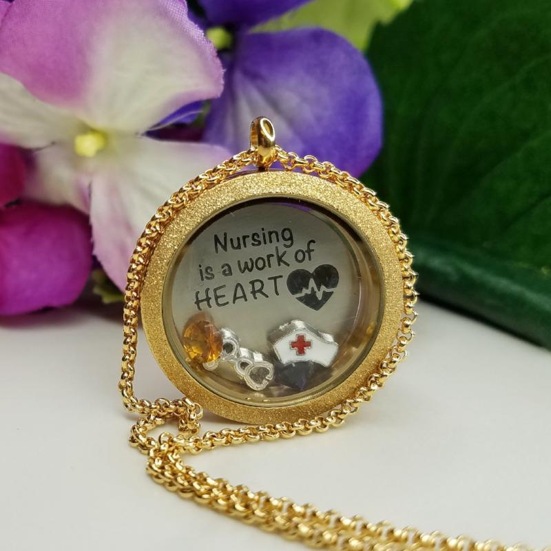 Nursing Hearts Charm Necklace Plate Tell Me A Charm Floating Charm Lockets