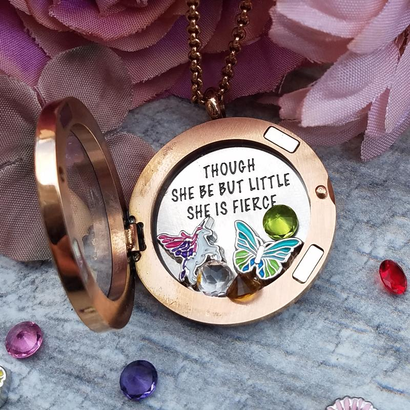 Though she be but little... Charm Necklace Plate Tell Me A Charm Floating Charm Lockets