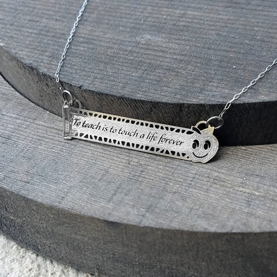 Touch a Life Teacher Bar Necklace
