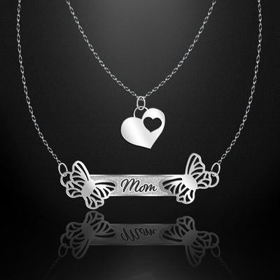 Heartfelt Wings Double Necklace- Mom