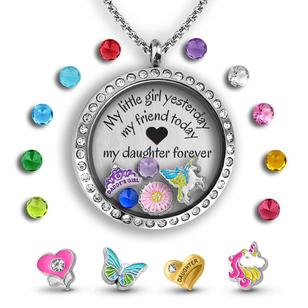 Unicorn Gift - Daughter Gift Charm Necklace Locket Set Tell Me A Charm Floating Charm Lockets