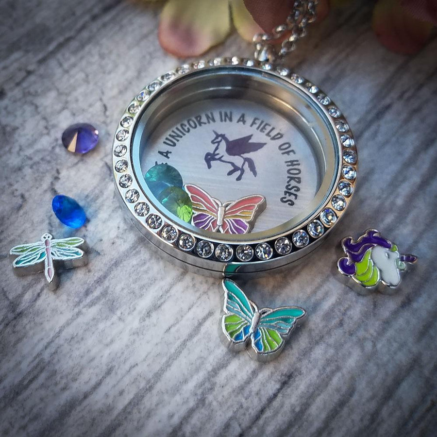 Pink & Purple Butterfly Charm Charm Necklace Charm Tell Me A Charm Floating Charm Lockets