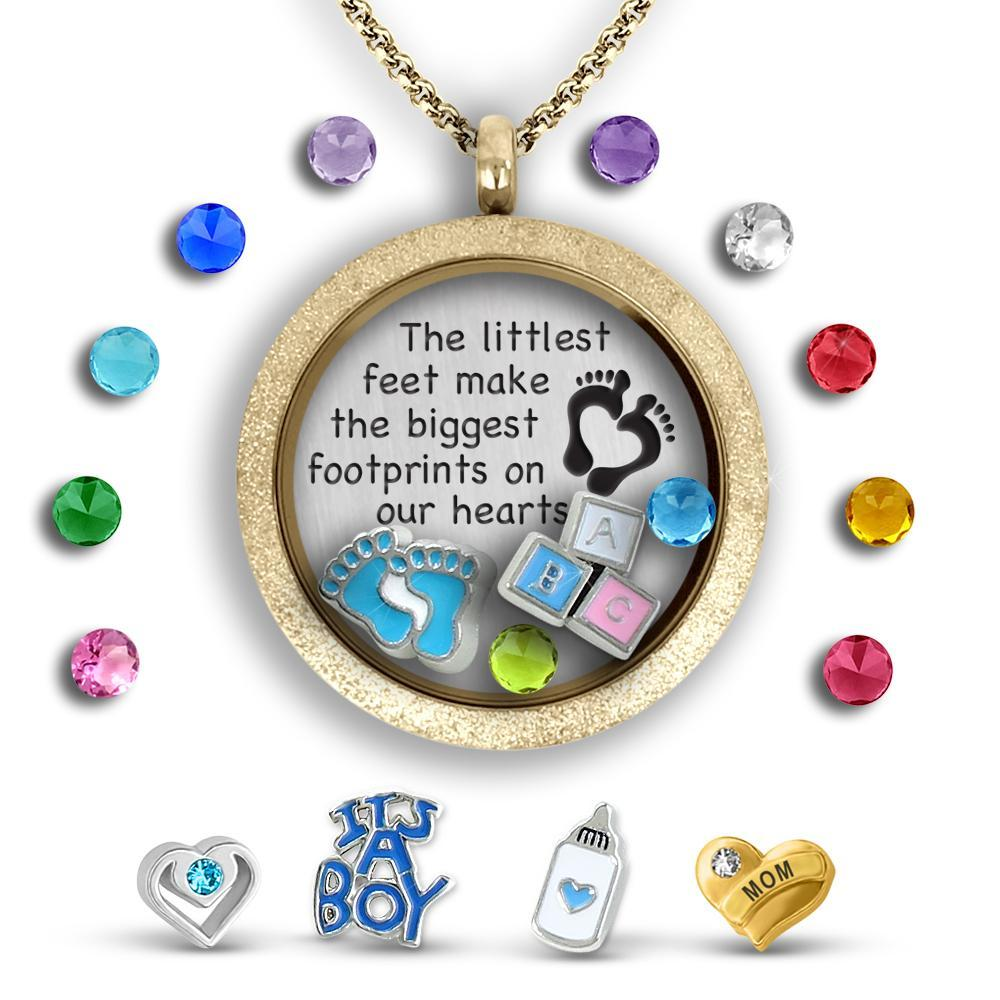 Baby Boy Necklace Charm Necklace Locket Set Tell Me A Charm Floating Charm Lockets