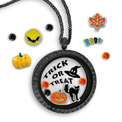 Trick or Treat Charm Necklace Locket Set Tell Me A Charm Floating Charm Lockets