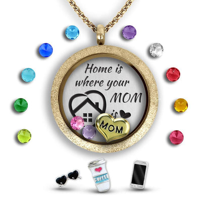 Personalized Mom Gift Charm Necklace Locket Set Tell Me A Charm Floating Charm Lockets