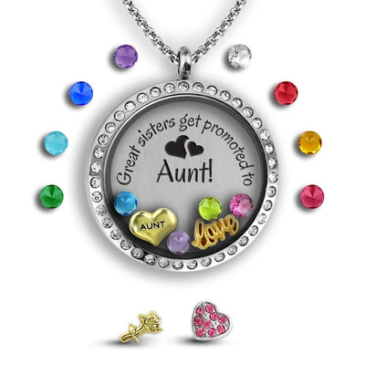 Present for Sister Charm Necklace Locket Set Tell Me A Charm Floating Charm Lockets