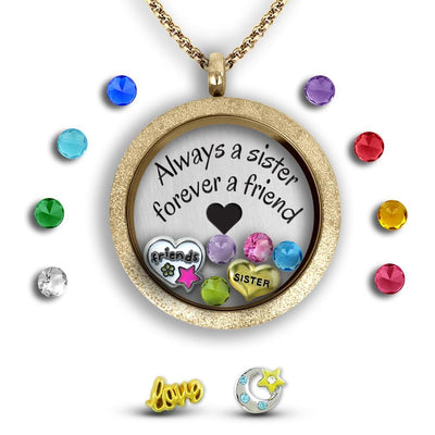 My Sister My Friend Locket Set Tell Me A Charm Floating Charm Lockets