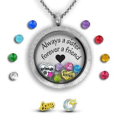 My Sister My Friend - Always a sister, forever a friend Charm Necklace Locket Set Tell Me A Charm Floating Charm Lockets