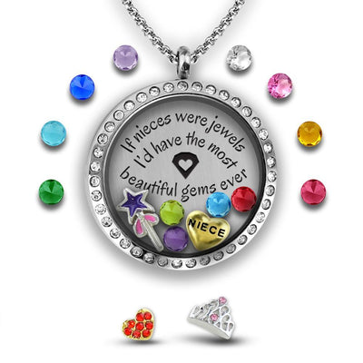 Niece Jewelry Charm Necklace Locket Set Tell Me A Charm Floating Charm Lockets