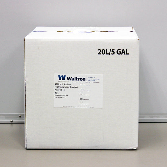 Sodium High Calibration Standard, 1000ppb, Red, 5 Gal/20L Cube