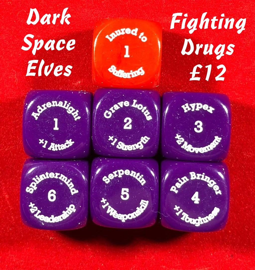 Dark Space Elf Fighting Drugs Dice