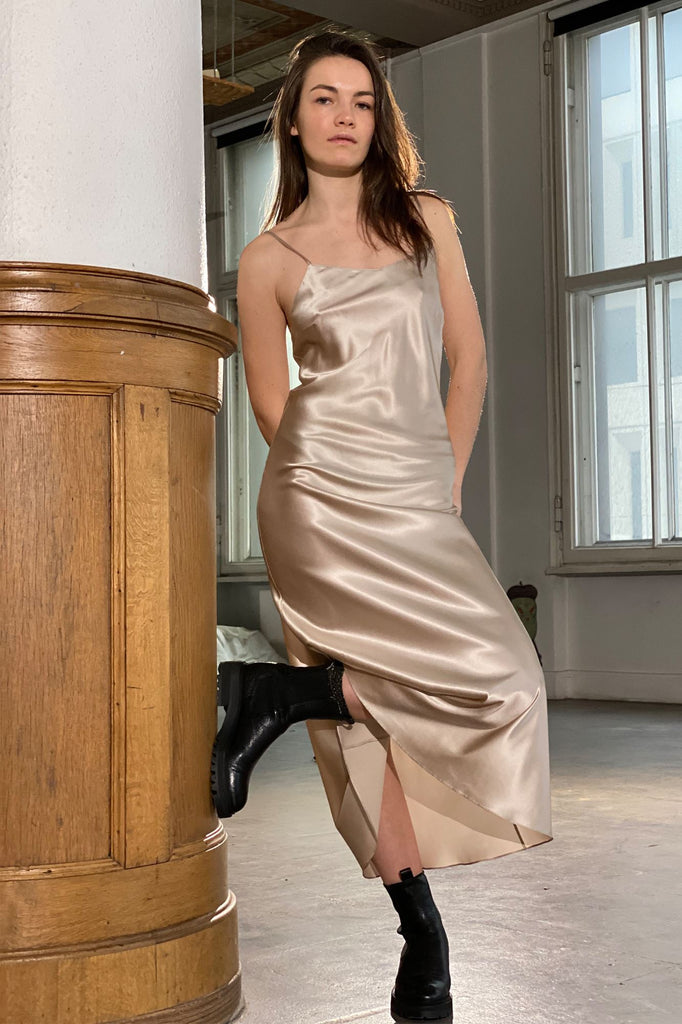Light Elysian Midi Silk Slip Amoralle