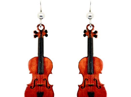 Classic Violin Earrings, sterling silver French hooks, Item# 1544
