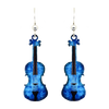Blue Violin Earrings, Sterling Silver Earwires, Item# 1574