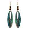 Rusty Turquoise Metallic 2 inch Slender Oval Eye Earrings