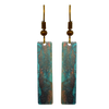 "Rusty Turquoise 2"" Metallic Slender Rectangle Earrings"