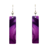 "Violet Floral 2"" Metallic Slender Rectangle Earrings"