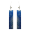 "Blue Water Color 2"" Metallic Slender Rectangle Earrings"