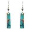 "Turquoise Stone 2"" Metallic Slender Rectangle Earrings"