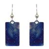 Blue Water Color Metallic 1.25 inch Rectangular Earrings