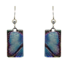 Blue Morpho Butterfly Metallic 1.25 inch Rectangular Earrings