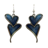 Double Blue Hearts, Transparent Stainless Steel, Sterling Silver Earwires, #2533