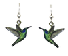 Green Hummingbird earrings,  Stainless Steel, Sterling Silver Earwires, #2536