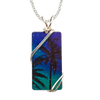 "Aurora Palms Necklace, 1.5"" pendant with silver-plated wiring"
