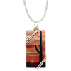 "Cactus Sunset Necklace, 1.5"" pendant with silver-plated wiring"