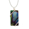 "Blue Morpho Butterfly Necklace, 1.5"" pendant with silver-plated wiring"