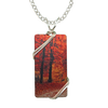 "Fall Leaves Necklace, 1.5"" pendant with silver-plated wiring"
