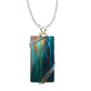 "Rusty Turquoise Necklace, 1.5"" pendant with silver-plated wiring"