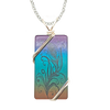 "Feather Drawing Necklace, 1.5"" pendant with silver-plated wiring"