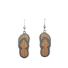 d'ears wood / metal flip flop earrings, made in the USA, sterling silver earwires