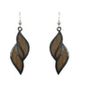 d'ears wood / metal double twist earrings, made in the USA, sterling silver earwires