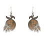 d'ears wood / metal hanging flower earrings, made in the USA, sterling silver earwires