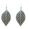 d'ears wood / metal leaf  earrings made in the U.S.A., sterling silver earwires
