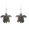 d'ears wood / metal sea turtle earrings, made in the USA, sterling silver earwires