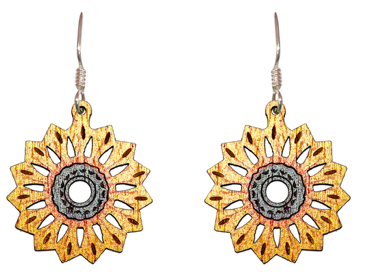 Mandala Sunflower, Wood Earrings, Sterling Silver Earwires, Made in the U.S.A.