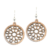 Mandala Circle Wood Earrings, Sterling Silver Earwires, Sustainably Sourced Wood