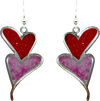 Double Pink & Red Hearts, Stainless Steel, Sterling Silver Earwires, #2522