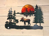 Moose Sunset metal wall art by d'ears, 22 inch, made in the USA, 18 gauge steel