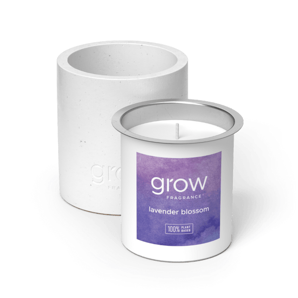 Lavender Blossom Fragrance in a White Candle Vessel