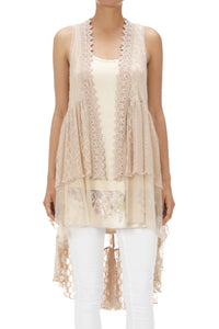 Lace Vest ~ Victoria ~ Available in Black and Taupe
