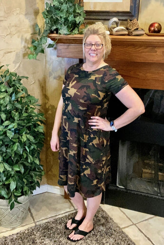 Plus Camouflage Dress ~ Kelsey ~ Available in Green, Tan and Mustard