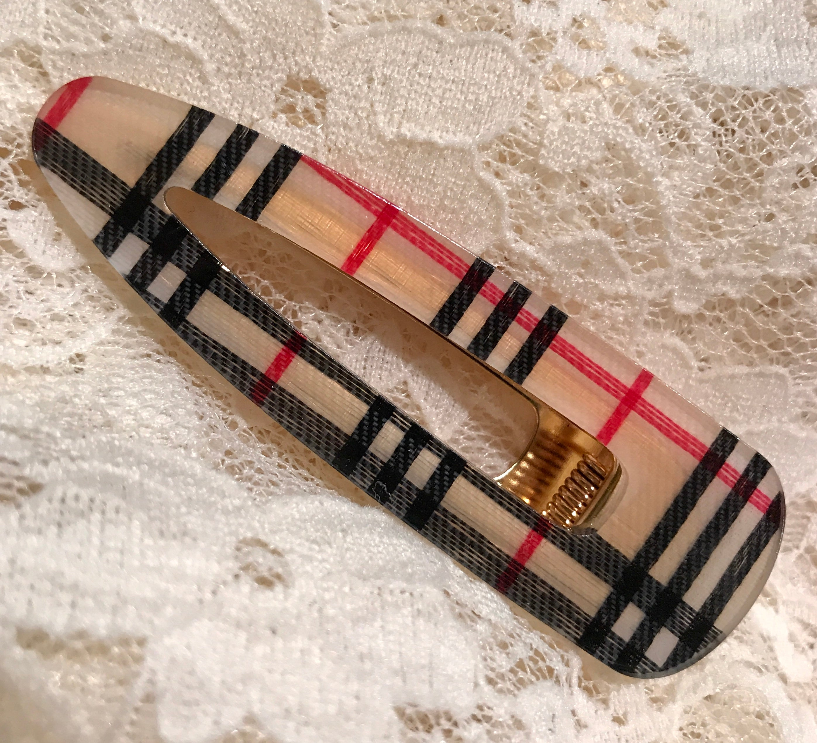 Plaid Hair Clip ~ Patricia ~ Available in Multiple Colors