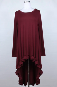 Hi-Lo Tunic ~ Tatiana ~ Available in Black, Rust and Wine